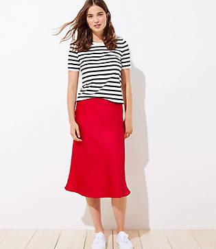 LOFT Petite Pull On Midi Skirt