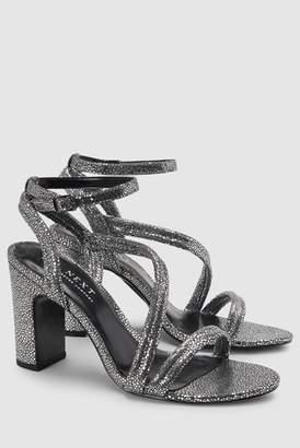 Next Womens Black Asymmetric Strap Block Heel Sandals