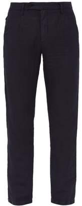 Massimo Alba Straight Leg Linen Blend Trousers - Mens - Navy