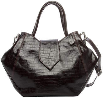 Annie Diamantidis Crocodile Embossed Leather Satchel
