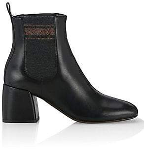 Brunello Cucinelli Women's Square Toe Leather Booties