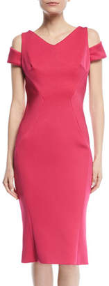 Zac Posen V-Neck Cutout-Shoulder Bonded Crepe Sheath Cocktail Dress