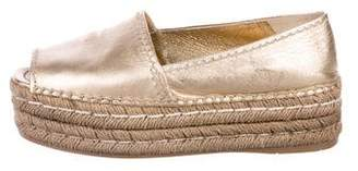 Prada Metallic Peep-Toe Espadrilles Sandals