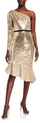 Marchesa Degrade Sequin One-Shoulder Dress w/ Asymmetrical Ruffle Hem