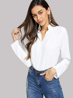 Shein V-Cut Neck Solid Blouse