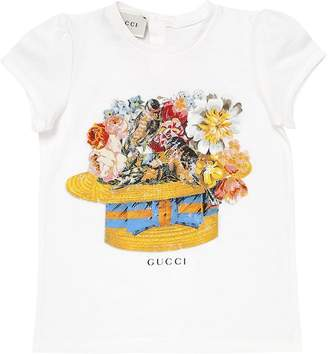 Gucci Floral Hat Print Cotton Jersey T-Shirt