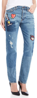 Love Moschino Distressed Patchwork Relaxed Straight Jeans