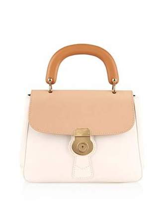 Burberry Trench Large Colorblock Leather Top-Handle Satchel Bag, Ivory