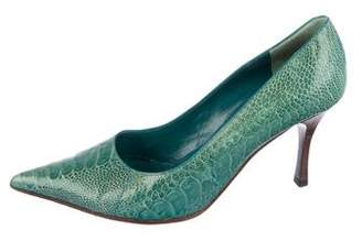Gucci Ostrich Pointed-Toe Pumps
