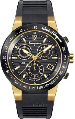 Salvatore Ferragamo F-80 Chrono Stainless Steel Leather-Strap Watch