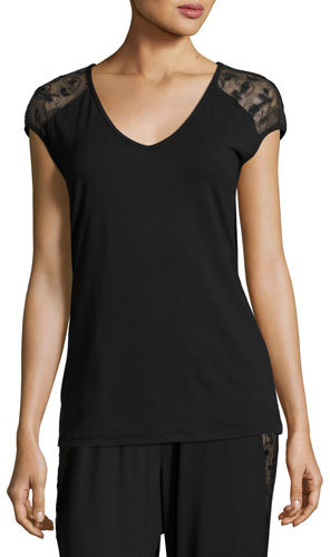 Cosabella Cosabella Ritz Cap-Sleeve Top, Black