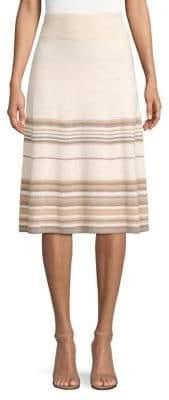 Agnona Cashmere-Blend Metallic Stripe Skirt