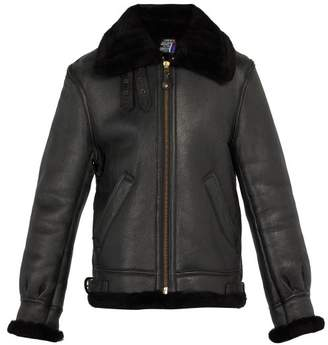 Schott Shearling Leather Jacket - Mens - Black