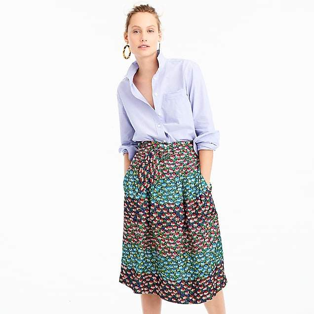 Collection paper-bag waist skirt in Ratti® midnight floral