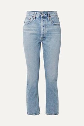 A Gold E Agolde AGOLDE - Riley Cropped High-rise Straight-leg Jeans - Light denim