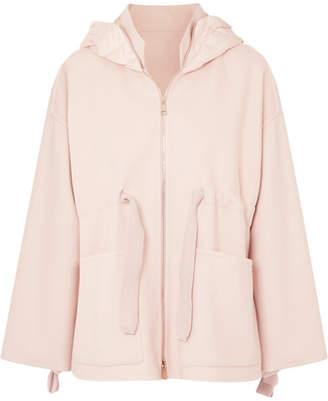 Moncler Hooded Shell-trimmed Wool-blend Felt Coat - Pink