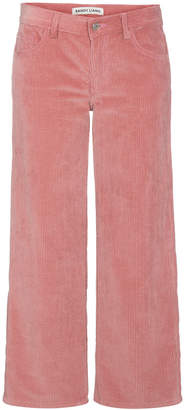 Sandy Liang Pink Cropped Corduroy Trousers