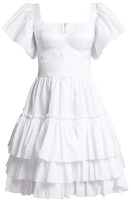 Dolce & Gabbana Tiered Ruffle Cotton Poplin Mini Dress - Womens - White