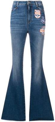 Dolce & Gabbana patched boot-cut jeans