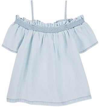 DL 1961 Kid's Chambray Off-The-Shoulder Top