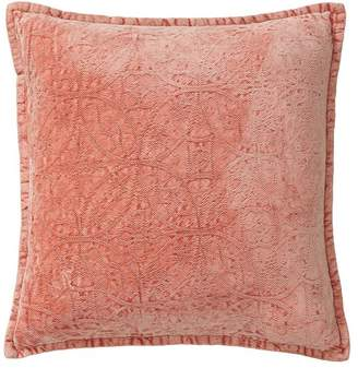 Pottery Barn Chenille Jacquard Pillow Cover - Coral