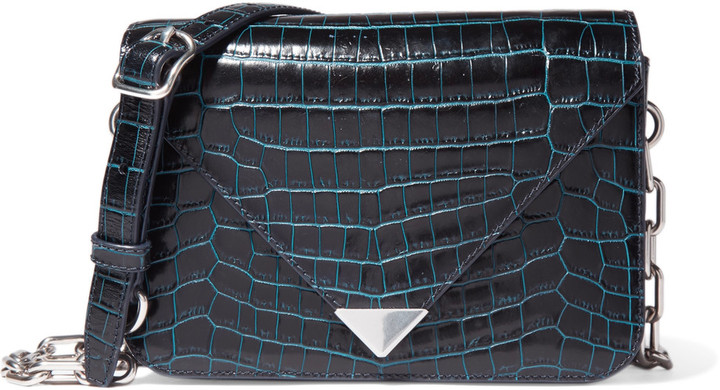 Alexander Wang Alexander Wang Prisma croc-effect glossed-leather shoulder bag