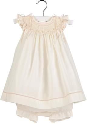 Luli & Me Ecru Smocked-Dress & Bloomer-Set