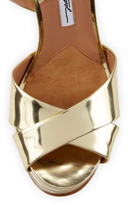 Brian Atwood Madison Metallic Leather Platform Sandals