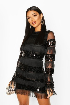 boohoo Sequin and Tassel Long Sleeve Bodycon Dress
