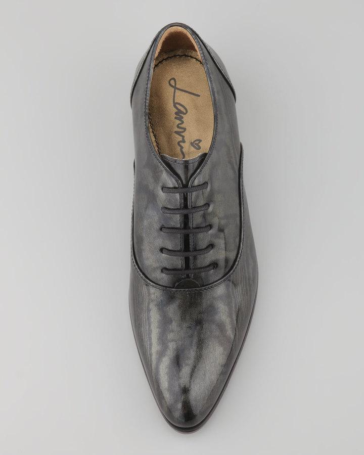 Lanvin Moiré Patent Oxford, Black