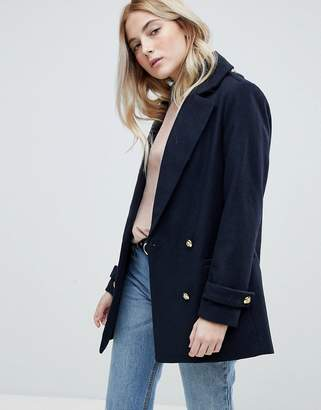 New Look Formal Pea Coat With Gold Buttons
