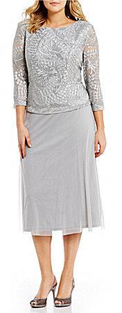 Alex EveningsAlex Evenings Plus Embroidered-Bodice Chiffon Dress
