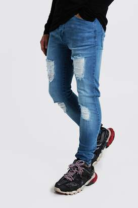 boohoo Super Skinny Jeans With Distressed Knees
