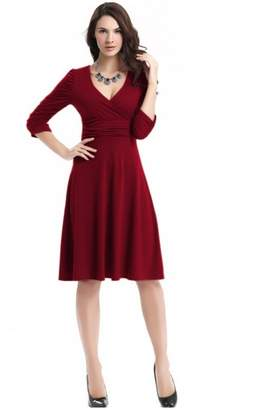 Best Nest Wellness Bestgift Women's Solid Color V-Neck High Waist Pile A-Line Dress M