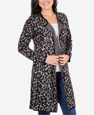 NY Collection Petite Animal-Jacquard Open-Front Cardigan