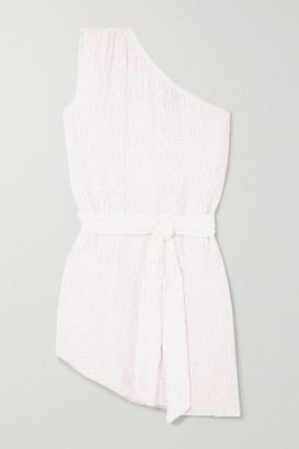 retrofete Ella One-shoulder Velvet-trimmed Sequined Chiffon Mini Dress - White