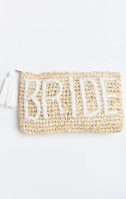 Show Me Your Mumu LJC Design ~ Bride Raffia Clutch ~ Natural/White Text -Bride