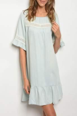 Easel Chambray Ruffle Dress