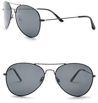 Polaroid EYEWEAR Men's Aviator 58mm Metal Frame Sunglasses