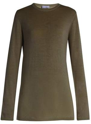 Raey Long Line Fine Knit Cashmere Sweater - Womens - Dark Khaki