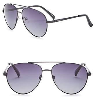 Steve Madden 59mm Aviator Polarized Metal Frame Sunglasses
