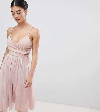 Asos DESIGN Petite scuba cami wrap tulle midi prom dress