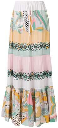 Emilio Pucci embellished printed maxi skirt