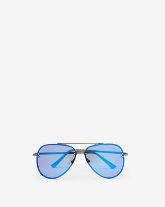 Express Blue Rimless Aviator Sunglasses