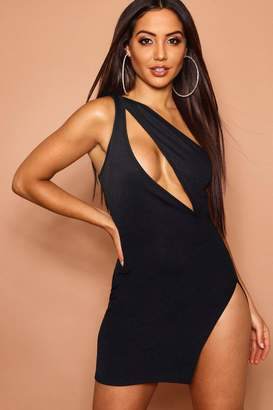boohoo Cut Out Front One Shoulder Bodycon Dress