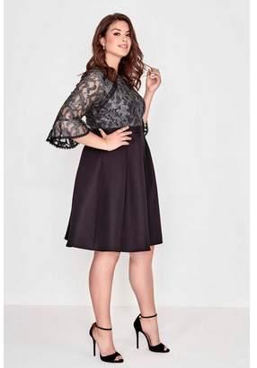 Evans **Little Mistress Black Lace Trim Prom Dress