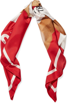 Moschino - Printed Silk-twill Scarf - Red $225 thestylecure.com