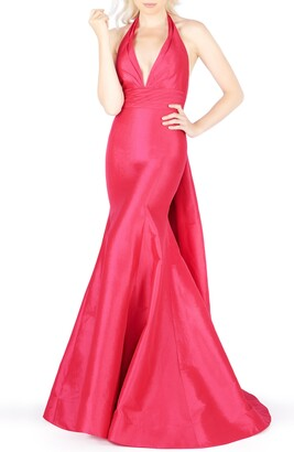 Mac Duggal Halter Neck Pleated Taffeta Mermaid Gown