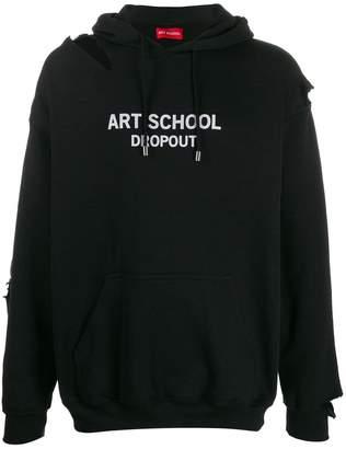Art School logo print distressed hoodie
