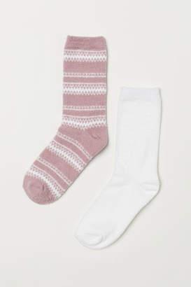 H&M 2-pack Chenille Socks - Pink
